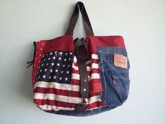 **VENDU** grand sac cabas unique et original déco US et jean : Sacs à main par mon-petit-caprice