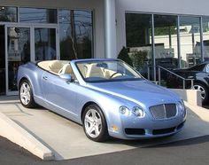 Powder blue Bentley convertible