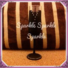 Black glitter champagne flute with diamonte trim www.facebook.com/sparktacularcreations xx