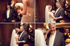Such a sweet first look between father + daughter. Coordinator: At Last Wedding + Event Design, Photo: Blue Lane Studios