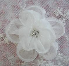 Antique White Fabric Beaded Flower Applique by delightfuldesigner, $3.75