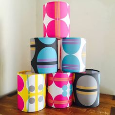 We printed these colourful lampshades which were designed by Amy Lanyon.