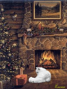 Moving Christmas Cabin Photo - Animated Christmas Cottage with cat Gif