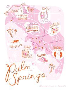 Palm Springs Printable Map illustrated by Kristen Long for Aww Sam