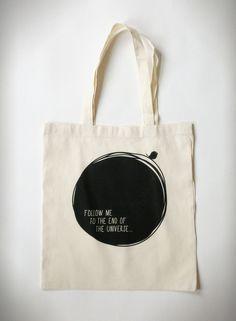 Shopping Bag   Graphic Print   black & white   circle   bird   universe