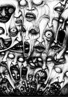 Ryan Bobzien Makeup Trends 2019 makeup trends for summer 2019 Creepy Drawings, Dark Art Drawings, Creepy Art, Weird Art, Arte Horror, Horror Art, Occult Art, Psychedelic Art, Art Sketches