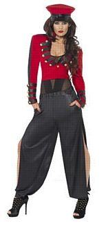 Pop Starlet Costume  Code: FCPS-M  Pop Starlet Costume, Red and Black, with Trousers, Jacket and Hat. Iconic outfit from Cheryl Cole's 'Fight for this love' video. Brilliant for a fancy dress party or a hen party! £24.95. Hen Party ideas, hen night fancy dress costumes, hen do ideas, hen party games and decorations