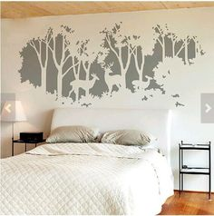 Whtie Tree Decal Deer Forest Trees Vinyl Wall Sticker Decals for Bedroom Decor #Unbranded #Contemporary