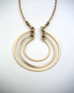 Gold geometric hammered open rings chain necklace Fine gold jewelry Wire jewelry Elegant pendant classic everyday layering statement. $88.00, via Etsy.