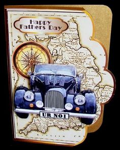 Vintage Car Scallop Edge A4 Card Front on Craftsuprint created by Rae Trees - I printed the design on good quality paper and cut around the scallops, I used a similar color for a backing sheet which I put on the right hand side. This is just a cut and fold card but I printed out two copies and decoupaged the car with foam pads. Great design!