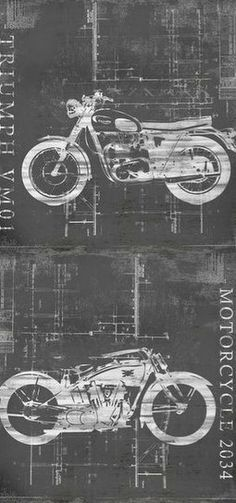 Motorcycle Blueprint Giclee Print