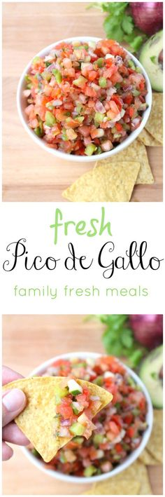 Fresh Pico de Gallo Salsa- fresh salsa taste amazing with chips, chicken, steak, fish and eggs! Mexican Dishes, Mexican Food Recipes, Ethnic Recipes, African Recipes, Fish Recipes, Healthy Snacks, Healthy Eating, Healthy Recipes, Fresh Salsa Recipe