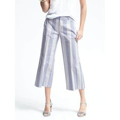 Banana Republic Womens Heritage Chambray Wide Leg Crop Pant (680 DKK) ❤ liked on Polyvore featuring pants, capris, bold blue stripe, white wide leg trousers, zip pocket pants, banana republic pants, zipper pants and stripe pants