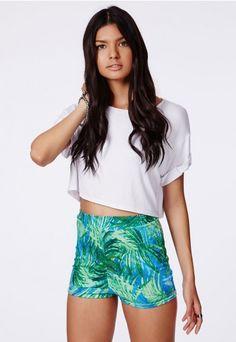 e117dfc4aac8 Abigaile Palm Print Hotpants - Shorts - Missguided Palm Print, Women's  Shorts, Boho Shorts