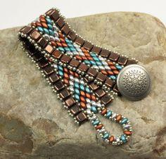 SUPERDUO CZECHMATES TILE Cuff Bracelet-Silver Superduos-Southwest-Rustic-Boho-Dark Bronze Tiles-Miyuki Light Pewter Seed Beads (DR13) by…