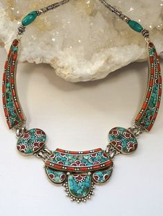 Turquoise Soul  . . .   Coral and Turquoise Inlaid Mosaic Necklace, Andrea Jaye Collection