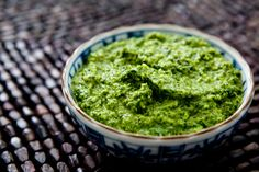 Cilantro Pesto ~ Homemade cilantro pesto, made with fresh cilantro leaves, blanched almonds, red onion, serrano chile and olive oil. ~ SimplyRecipes.com