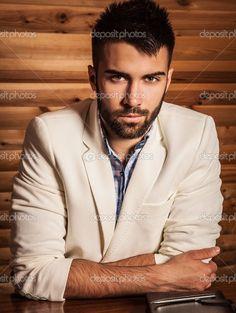 Attractive men indoor. Close-up photo. — Imagem Stock #51659839