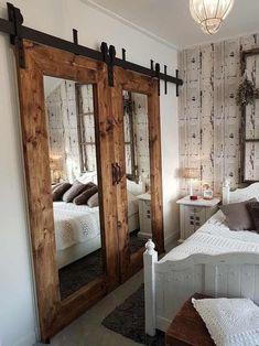 Rustic Closet, Barn Door Closet, Wood Closet Doors, Wood Doors, Barn Door Cabinet, Sweet Home, Diy Casa, Interior Barn Doors, Rustic Barn Doors