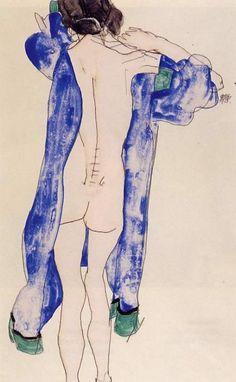 Standing Female Nude in a Blue Robe, Egon Schiele