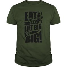 Eat Big Lift Big Get Big Gym Motivation Fitness     Funny Gym T-shirts will put you in a good mood for your workout. Fitness, Workout, Running, Biking, Yoga,   Muscles, Lifting, Gym, Womens, Mens, Funny, Cross Training, Hoodies, T-Shirts, Tank Tops, Tees, Quotes, Sayings