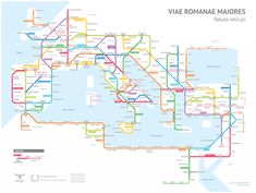 A subway-style map of Roman Empire roads circa 125 A. After much research, Sasha Trubetskoy has completed a subway-style map of the road system of the Roman Empire. From about 300 BC, the Romans. U Bahn Plan, Rome Antique, Roman Roads, Metro Map, Empire Romain, Train System, Subway Map, Fantasy Map, Ancient Rome
