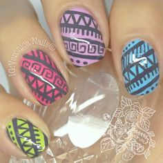 Bright summer tribal nails - @ veronicanails