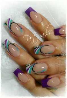 Pin by Olivia Jones on nails Fantastic Nails, Fabulous Nails, Pretty Nail Designs, Nail Art Designs, French Nails, Purple Nail Art, Fingernail Designs, Nail Candy, Get Nails