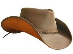 b6c19503 Lucky Trails Lucas Brown Shapeable Handmade Leather Western Cowboy Hat