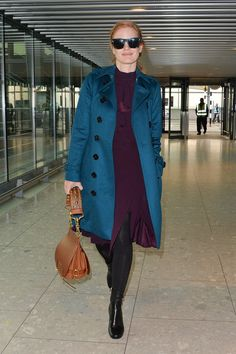 Jessica Chastain offers up some coat porn at Heathrow Airport in London | Tom + Lorenzo