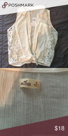 Sleeveless Tie-front shirt Brand new sold out Hollister sleeveless blouse Hollister Tops