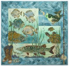 fish+quilt+pattern | Quilt Patterns Something Fishy 4 Patterns Set Bass Turtle Gill Fish ...