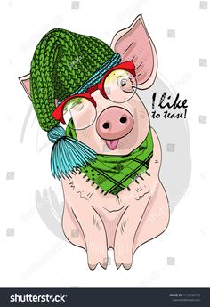 Vector pig with red glasses, green knitted hat and green scarf. Hand drawn illustration of dressed piggy. The pig teased. Pig Illustration, Illustrations, Pig Crafts, Pig Drawing, New Year Postcard, Pig Art, New Nail Designs, Flying Pig, Cool Nail Art