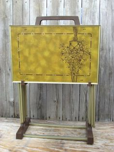 4 TV Tray Tables GOLD With Stand LaVada Macrame Flowers