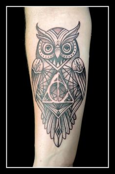 Geometric owl tattoo - photo#16