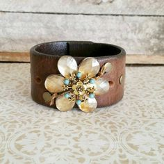 Leather Cuff with Jeweled Flower by LesChic on Etsy