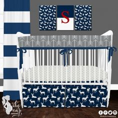 Navy Deer Woodland Baby Boy Crib Bedding Set