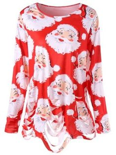 a247cfd53d29e  15.79 - Plus Size Santa Claus Print Ripped Tunic T-shirt - Red - Red