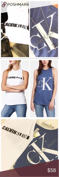 Calvin Klein: 2 Trendy Tops * Calvin Klein Jeans collection: set of 2 tops: workout racer back style tank/ muscle tees. White top features the black and white contrast logo at center. The bijou blue top has the classic Calvin Klein Jeans logo. Super comfortable blend of cotton & modal material, w/ a racerback design & seaming details. * Perfect for workout or casual hangout; trendy style. * Both are size: Medium (length is approx: 27 in) * Refer to individual listings for more details or if…