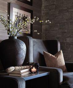 Modern Rustic Homes, Modern Cottage, Log Cabin Living, Living Area, Living Room, Interior And Exterior, Interior Design, Modular Homes, Home Staging