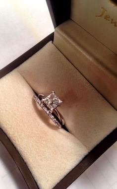 Solitaire engagement ring-princess cut, diamond wedding band....it's what I want!