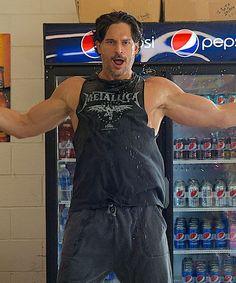 Joe Manganiello Striptease Magic Mike Mini Mart   Joe Manganiello heats things off and cools things down in this mini mart striptease from Magic Mike XXL. #refinery29 http://www.refinery29.com/2015/07/90238/joe-manganiello-magic-mike-xxl-striptease-gif
