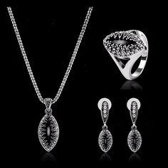 Sale 14% (9.64$) - Turkey Series Obsidian Necklace Ring Retro Earrings Gift Jewelry Set