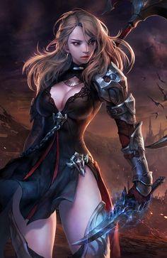 'Project HIT' ~scythe knife woman illustration by Boo bi (on artstation) - detail Fantasy Female Warrior, Warrior Girl, Fantasy Women, Fantasy Girl, Cute Characters, Fantasy Characters, Female Characters, Girl D, Art Girl