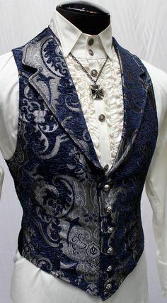 Men's Suits - Shrine gothic blue tapestry aristocrat victorian vampire vintage gothic vest - rich photos Victorian Vampire, Victorian Steampunk, Victorian Fashion, Vintage Gothic, Victorian Mens Clothing, Renaissance Clothing, Fashion Vintage, Victorian Outfits, Mode Steampunk