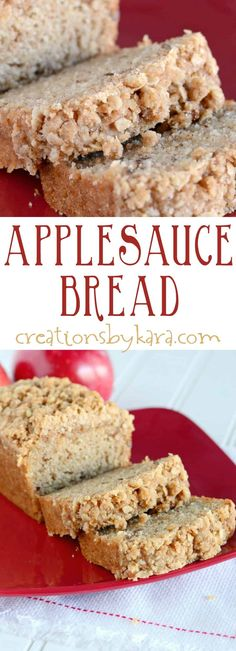 Every bite of this applesauce bread is scrumptious! The buttery cinnamon oat topping makes it a spectacular fall quick bread recipe! #applesaucebread #applesaucequickbread #applesaucecrumbbread #creationsbykara #applesaucebreadrecipe