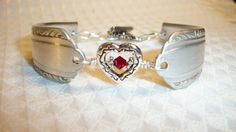 January Birthstone Silver Spoon Bracelet