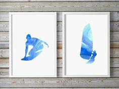 Windsurf surf art  acquerello windsurfista  di Lemonillustrations