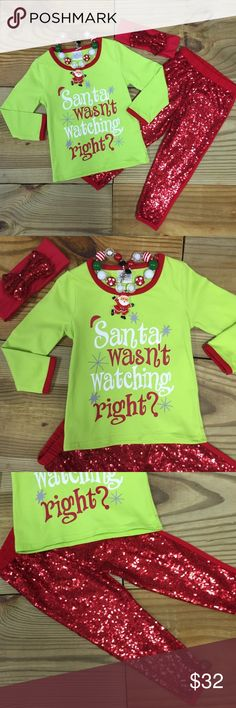 """Girls Sequin Christmas Outfit Our red and lime green sequin girls Christmas outfit says """"Santa Wasn't Watching Right?"""" The red leggings are sequin on the front and cotton back. They are lined with cotton for comfort. This is an adorable outfit for holiday photo shoots and parties! Grab yours now while you can! Fits TRUE TO SIZE Cotton/Spandex Fast Shipping Many sizes! FREE Accessories including headband and chunky necklace! Accessories may not be the same pictures depending on stock. Moxie…"""