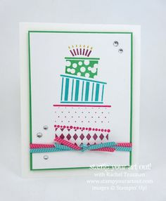 Bright and festive Crazy Cake card… #stampyourartout - Stampin' Up!®️️️ - Stamp Your Art Out! www.stampyourartout.com